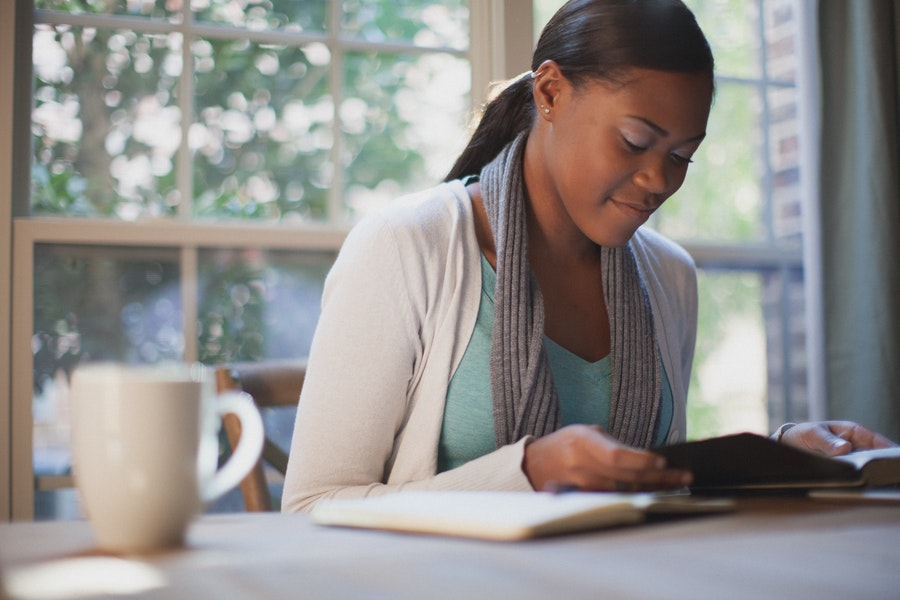 African American Woman Studying Bible