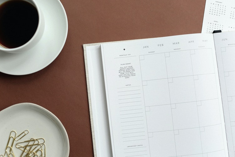 Agenda book calendar empty