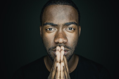Black man looking at camera