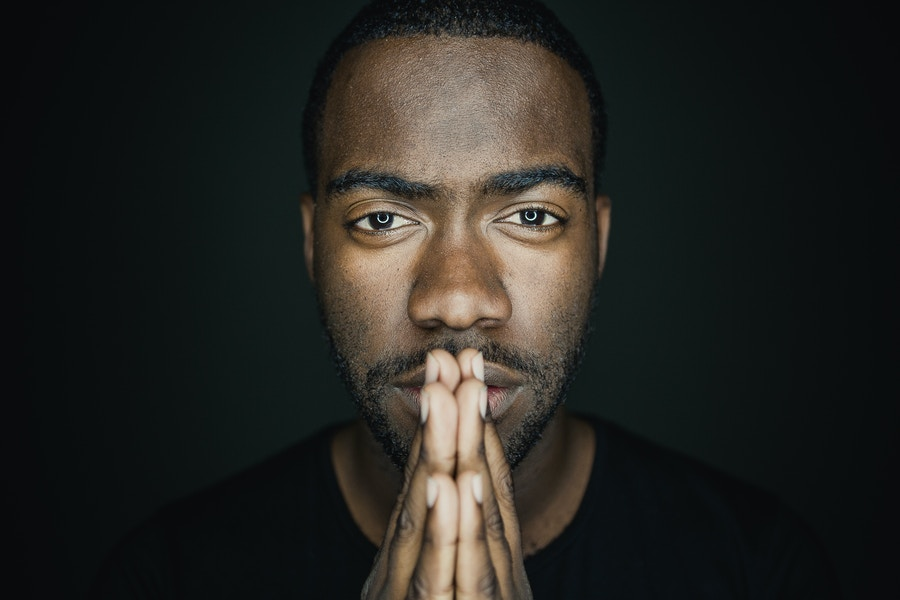 Black man looking at camera