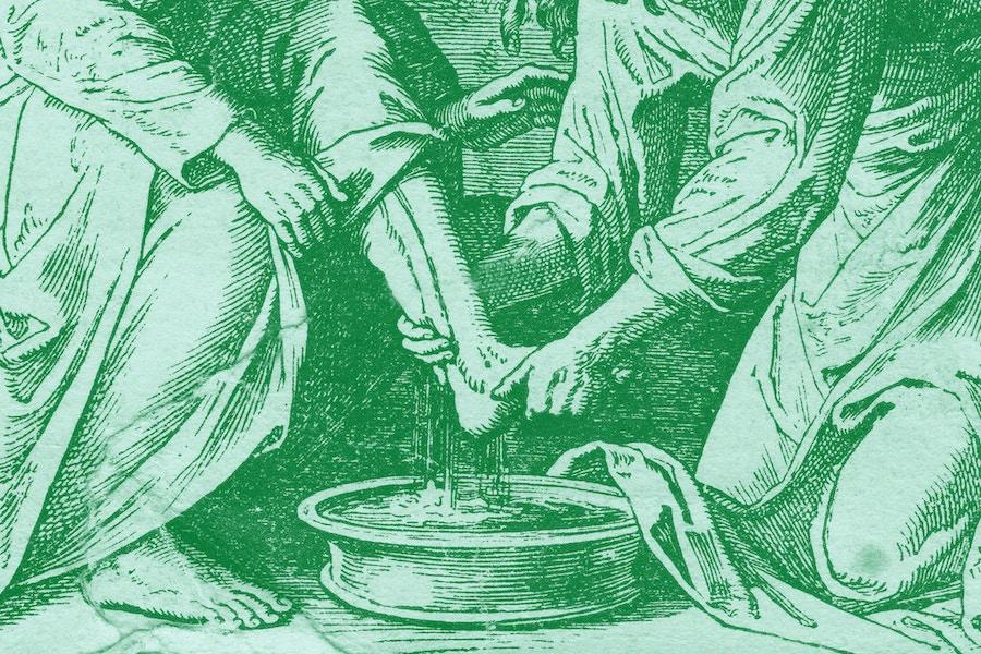 Jesus washing feet closeup