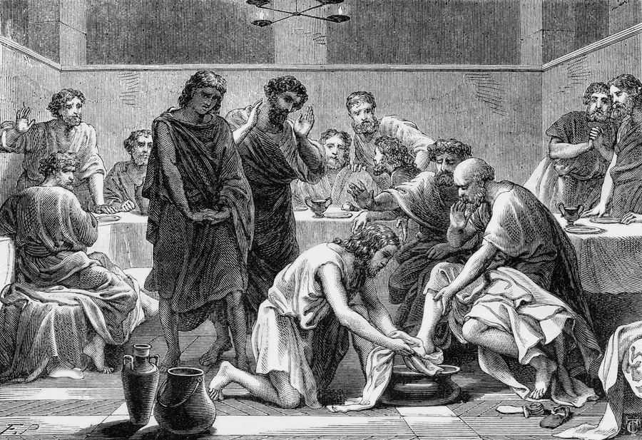 Jesus Washing Feet Etching