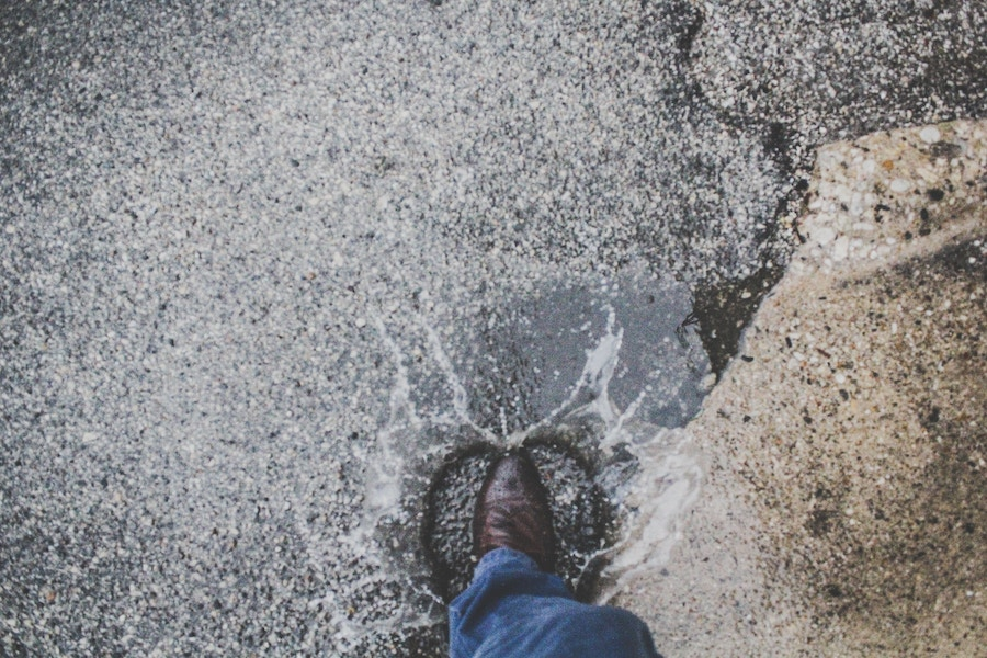 Shoe Stepping In Water