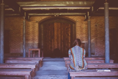 Woman On Bench Praying Confession