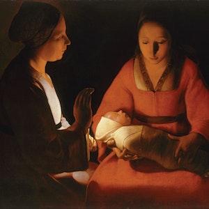 Georges de La Tour. _The Nativity_, also titled _The Newborn_. c. 1644.